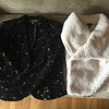 Josephine Chaus floral embroiled black velveteen jacket size 10<br /> Ana cream faux shearling vest with knitted back and oversized collar size M