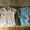 Eddie Bauer button up striped wrinkle resistant shirt size M<br /> American Eagle turquoise and cream scoop neck striped sweater with fold back cuff sleeves in contrasting cream size M (slight stain on one cuff)