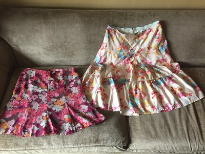 Old Navy floral zip skirt size 8 Banana Republic silk floral watercolor skirt size 6
