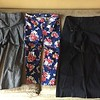 Ann Taylor signature fit gray trousers size 6<br /> Old Navy floral pixie pant on navy background size 8<br /> H&M black wide leg trouser size 8 (Eur 38)