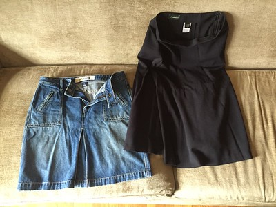 Gap denim skirt with zip front pockets size 8 Eddie Bauer black skirt size 6