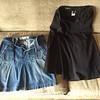 Gap denim skirt with zip front pockets size 8<br /> Eddie Bauer black skirt size 6