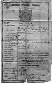 Original Prussian Travel Papers, ca. 1853
