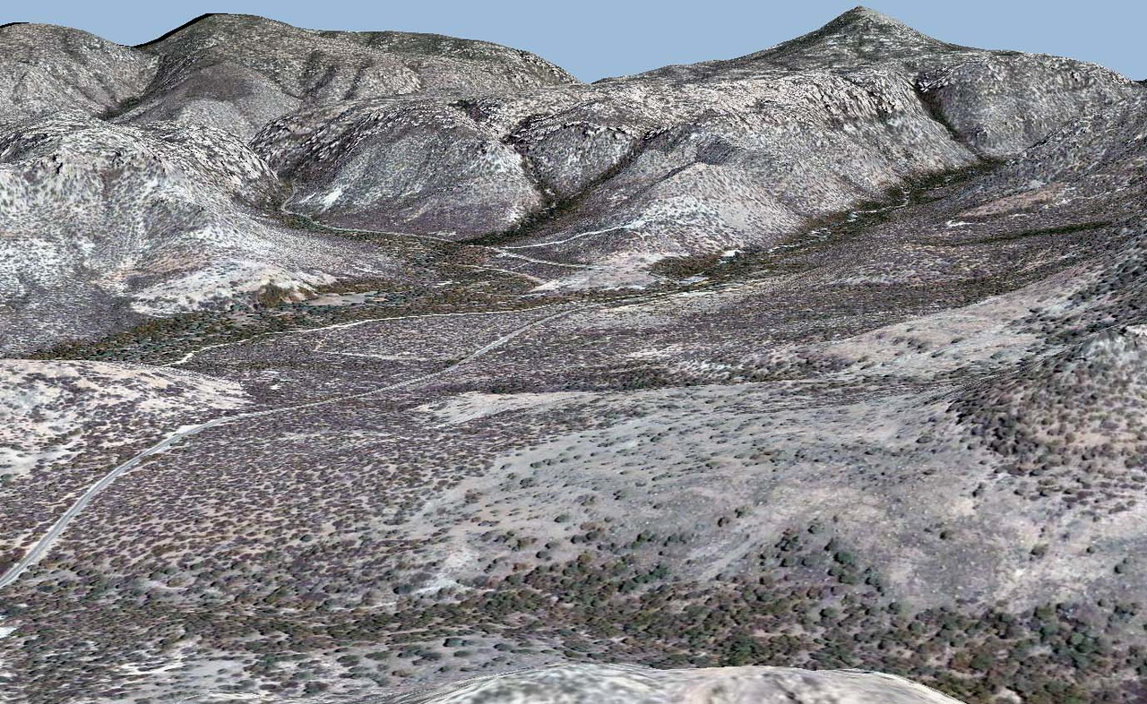 3D perspective view of part of the Chricahua National Monument.  Image from Digital Globe; DEM from the National Elevation Dataset.