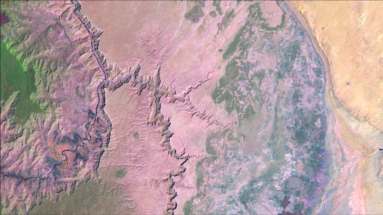 Landsat 7 short wave infrared image of the upper reaches of the Grand Canyon.