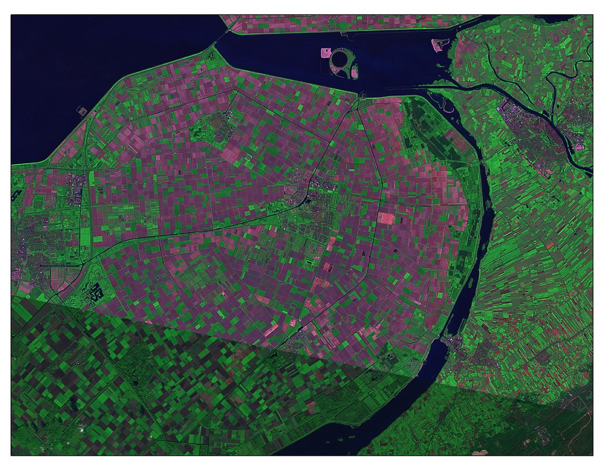 Landsat 7 Short Wave Infrared image of a Dutch Polder.