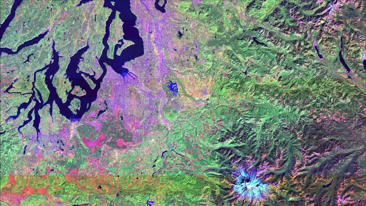 Short wave infrared image of Seattle, WA metro area.