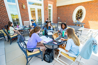 Studying on the Trible Library terrace