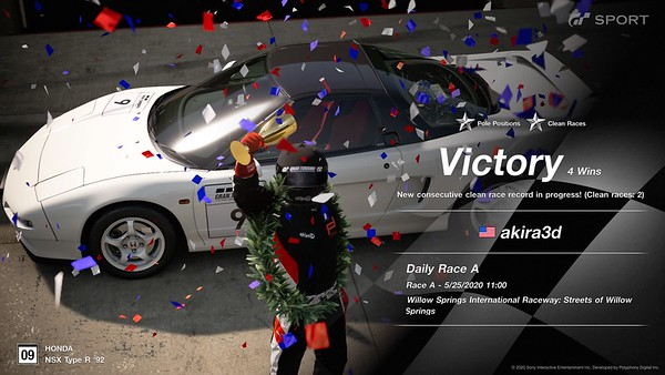 It means a LOT that my very first Sport Mode race in a first-generation NSX-R started from the pole and ended with a victory...though 2nd place stole fastest lap, put up a fight on the final lap, and nearly stole the win with a bump on the final corner
