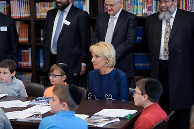 Secretary DeVos discussing poetry with fourth graders in the Willens Literacy Library at Yeshiva Darchei Torah.