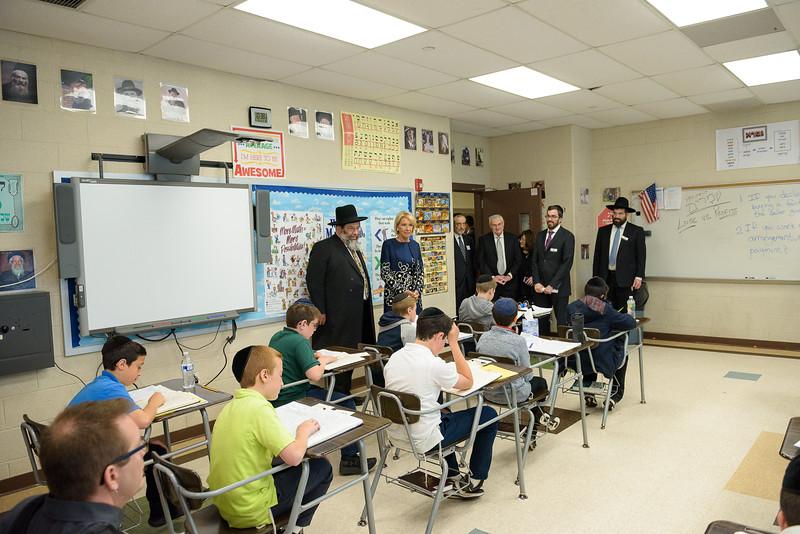 Education Secretary Betsy DeVos and Rabbi Yaakov Bender observing a sixth grade Gemara class at Yeshiva Darchei Torah.