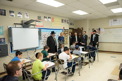 Education Secretary Betsy DeVos and Rabbi Yaakov Bender observing a sixth grade Gemara class at Yeshiva Darchei Torah.