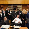 Education Secretary Betsy DeVos in conversation with Avromi Wolodarsky, a student at Yeshiva Darchei Torah. Seated at left is his chavrusa, Rabbi Paltiel Bender.