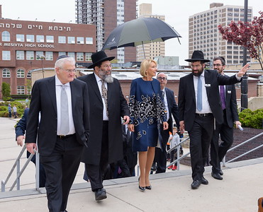 Secretary DeVos touring the campus of Yeshiva Darchei Torah in Far Rockaway with, L-R: Mr. Ronald Lowinger, president; Rabbi Yaakov Bender, Rosh HaYeshiva; Mr. Joel Kaplan, executive director of On Our Way Learning Center; Rabbi Moshe Bender, Associate Dean; and Rabbi Eli Biegeleisen, director of community engagement.