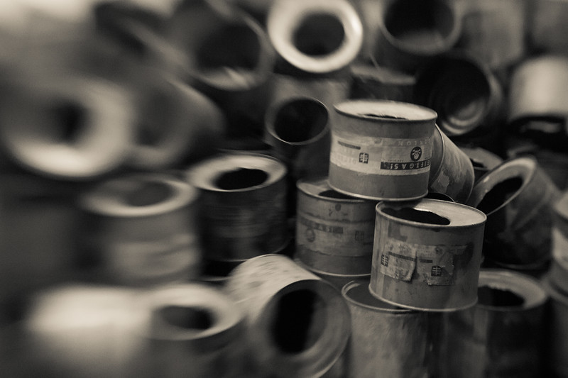 Cyclone B canisters. Twenty tons were used, while only 13 pounds were needed to kill 1500 people. Requisition orders for the poison listed 'resettlement of the Jews' as their purpose.