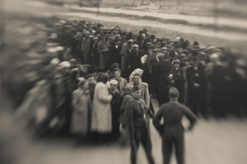 This photo, taken by an SS officer, shows prisoners immediately off the trains, segregated by gender, those fit to work sent to the camps, those too frail or young sent immediately to the gas chambers.