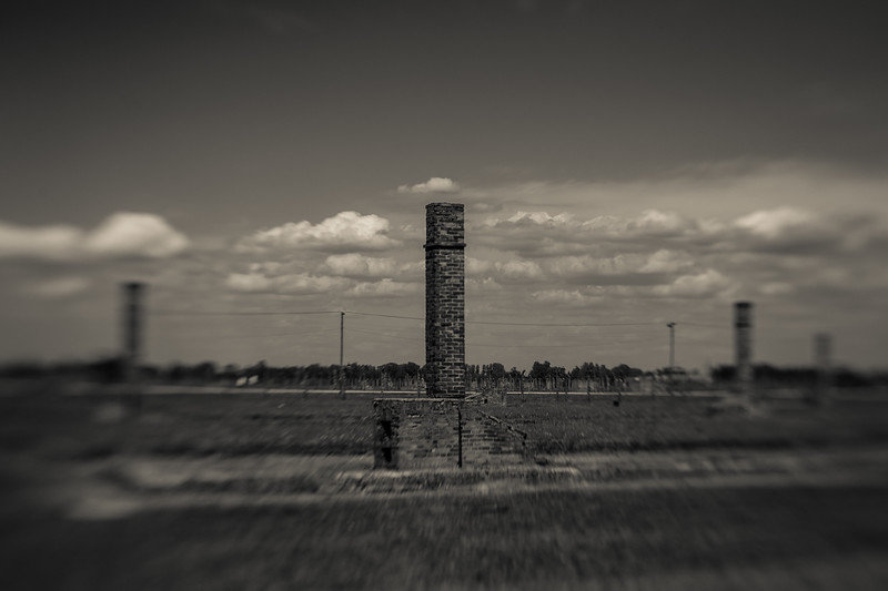 In an attempt to conceal the evidence. much was destroyed in advance of the liberation.  Chimneys from hearths are all that remain of most Birkenau barracks.