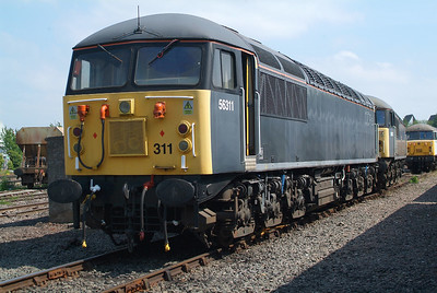 DCR's pair 56311 and 56312 , ( ex 56003 and 56057 ).  Another member of the Longport convoy which departed on 6th July. I wish her well.
