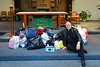 Fr. Tom Suss with his gifts for McNeal Island after Mass on Feb 3, 2008