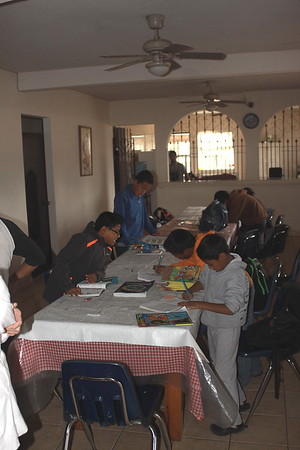 A boys home - doing homework and tutoring
