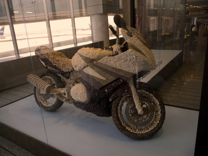at the Philadelphia airport was a motorcycle covered in seashells...