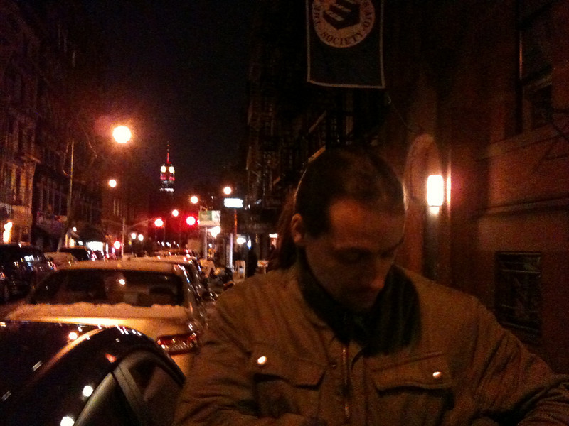 Michael in Greenwich Village with Empire State Building in the background