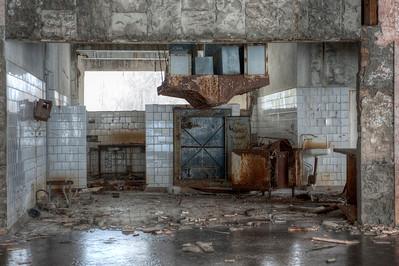 Kitchen inside the 30 kilometer Chernobyl exclusion zone, Pripyat, Ukraine.