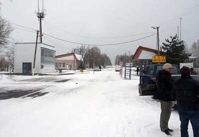 Entrance to the Chernobyl 30 kilometer exclusion zone, Ukraine.