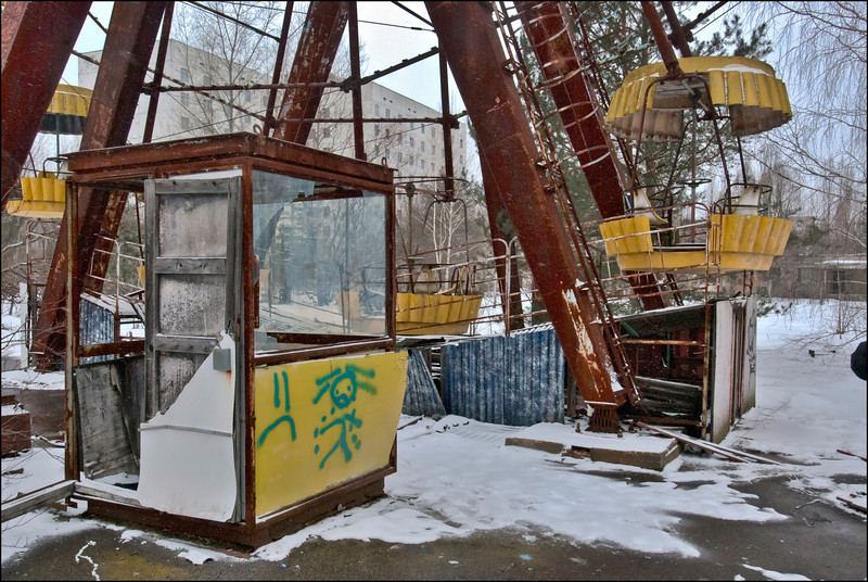 This ferris wheel was set to open five days after the Chernobyl nuclear accident. Pripyat, Ukraine, inside the 30-kilometer Chernobyl Exclusion Zone.