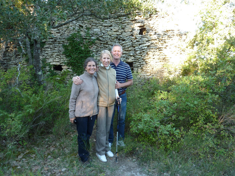 Pat de Koning, Moyra and Stephen Lecompte at borie in Lacoste woods