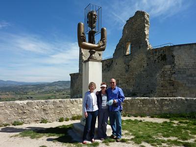 Sheryl, Sue, Paddy - statue of Marquis de Sade, Lacoste castle