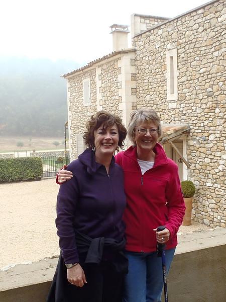 Elsa and Sheryl, walking near Lacoste