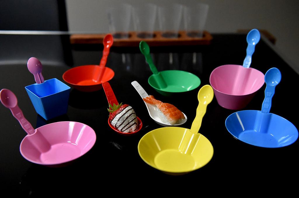 . Vista Tek makes biodegradable bowls, spoons and glasses. (Pioneer Press: Jean Pieri)