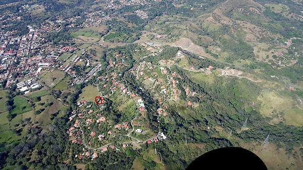 Aerial View from Sansa Plane of Roca Verde - My House Circled