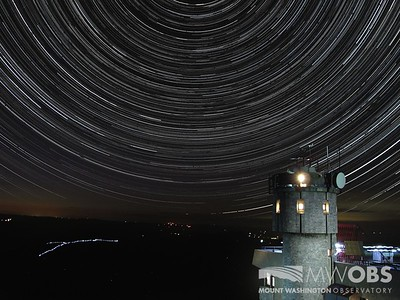 Star Trails over the Northern Presidential Range and the weathe observation tower.