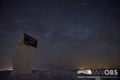 Milky Way behind the Mount Washington summit sign.  Taken March 2013.