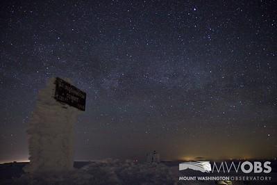 Milky Way behind the Mount Washington summit sign.  Taken March 2013.