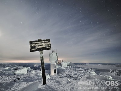 Summit Sign in Moonlight With Snow