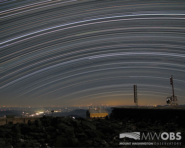 Star Trails over the summit sign, Tip Top House, and the Stage Office.