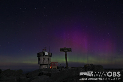 Aurora With Summit Sign And Instrument Tower