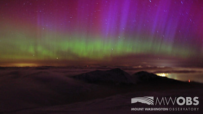 The Northern Lights over the Northern Presidential Range and Berlin, NH.  Taken during March 2013.