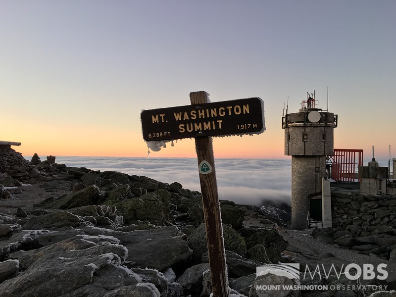 Ice on Sign with Undercast at Sunset