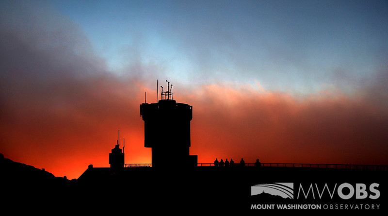 Red, white, and blue sunset with our tower.