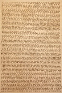 "Judy Tuwaletstiwa, Das Buch der Fragen I (triptych), 2007-2013, 72"" x 48"", burned holes, linen and camel hair, paper, llama saddle, graphite on canvas"