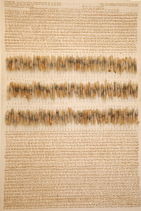 "Judy Tuwaletstiwa, Das Buch der Fragen II (triptych), 2007-2013, 72"" x 48"", burned holes, linen and camel hair, paper, llama saddle, graphite on canvas"