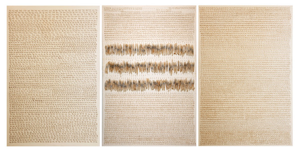 "Judy Tuwaletstiwa, Das Buch der Fragen (triptych), 2007-2013, 72"" x 48"", burned holes, linen and camel hair, paper, llama saddle, graphite on canvas"