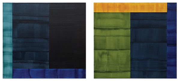 Ricardo Mazal, Bhutan Abstraction with Black 2, Bhutan Abstraction with Green 3, 2015, Oil on Linen, 90 x 98.5 inches