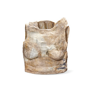 Torso 1:  plaster wrap, acrylic paint, sewing patterns, collage 18 x 15 x 9 in. (56 in. high with stand)