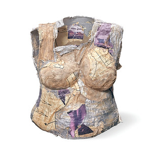 Torso 22:  plaster wrap, acrylic paint, sewing patterns, collage  20 x 17 x 12 in. (55.5 in. high with stand)