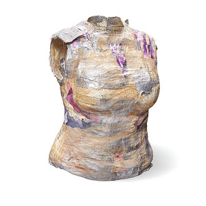Torso 7:  plaster wrap, acrylic paint, sewing patterns, collage 21.5 x 16 x 13 in. (59 in. high with stand)